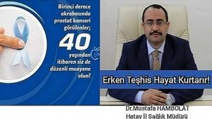 Hatay İl Sağlık Müdürü Dr. Mustafa Hambolat Dünya Prostat Kanseri farkındalık günü dolayısıyla mesaj yayınladı