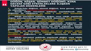 Hatay Valiliği Sokak/Köy  Düğün, Kına, Nişan ve Sünnet etkinliklerine izin vermeyecek