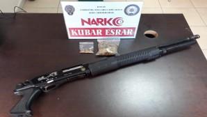 10 gram esrar ve pompalı tüfek ele geçirildi