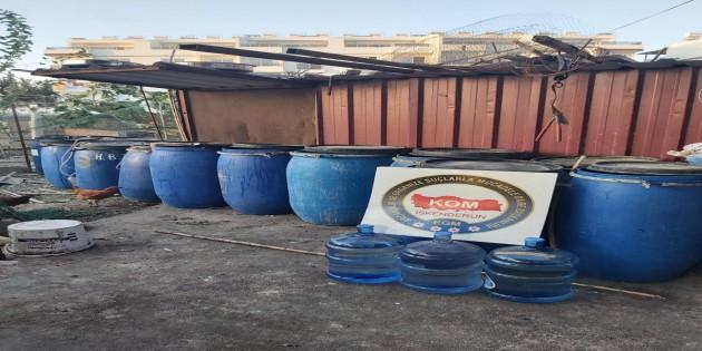 Arsuz Madanli'de 2040 litre Boğma rakı ele geçirildi