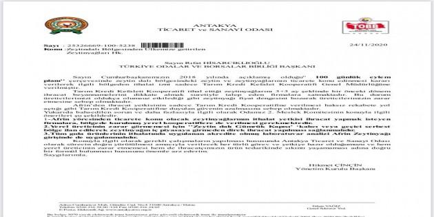 Antakya Ticaret ve Sanayi Odası Afrin Zeytinyağının Türkiye'ye getirilmemesi için girişimde bulundu!