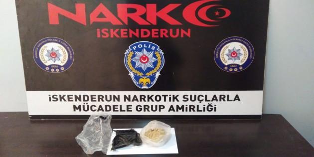 İskenderun'da  bir araçta 208 gram Eroin yakalandı