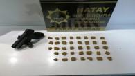 Antakya Şirince Mahallesinde 71 gram esrar ile bir tabanca yakalandı