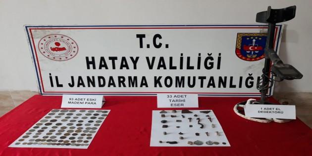 Reyhanlı ilçesinde 93 sikke, 33 adet Tarihi Eser yakalandı