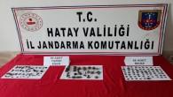 Jandarma Reyhanlı'da 74 sikke 1adet yüzük ve 58 tarihi eser niteliğinde malzeme yakaladı