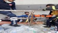Dörtyol'da çöken inşaata ilk müdahale Hatay Büyükşehir belediyesi İtfaiyesinden