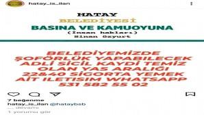 Hatay Büyükşehir Belediyesi'nden açıklama: İşe alım yapıldığı haberleri asılsızdır!