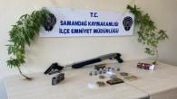 Samandağ'ında Pompalı tüfek, kuru sıkı tabanca hint keneviri yakalandı